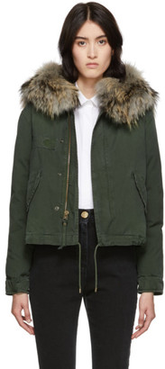 Mr & Mrs Italy Green Down Fur Cropped Jazzy Jacket