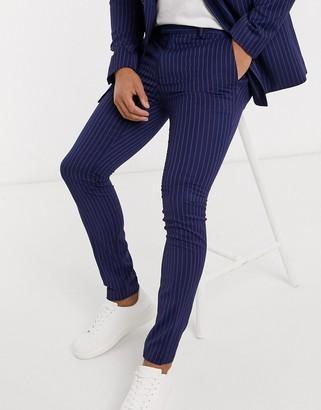 Topman super skinny fit pinstripe suit pants in blue