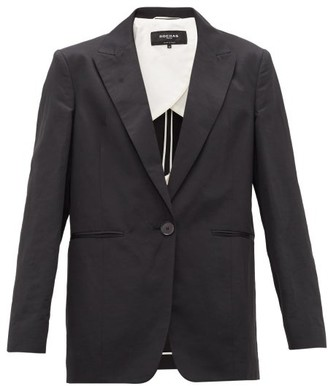 Rochas Single-breasted Peak-lapel Slubbed Jacket - Black