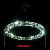 MEIREN LED Crystal Pendant Light Lighting Modern Single D70CM Three Sides K9 Crystal Indoor Ceiling Lights Lamp Fixtures , Warm White-90-240V