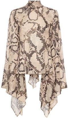 SOLACE London Ali snakeskin-print blouse