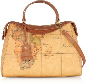 Alviero Martini Charme Geo Coated Canvas & Leather Satchel Bag