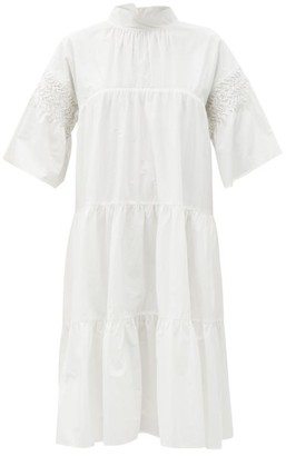 Merlette New York Astell Hand-smocked Cotton-poplin Dress - White