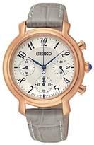 Seiko Women's Quartz Watch with White Dial Analogue Display and Grey Leather Bracelet SRW872P1