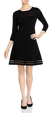 T Tahari Sheer Striped Fit-and-Flare Dress
