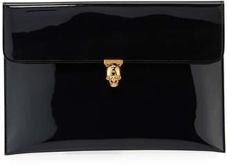 Alexander McQueen Soft Patent Envelope Clutch Bag, Dark Navy