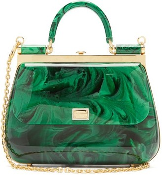 Dolce & Gabbana Sicily Mini Marbled-acrylic Bag - Green
