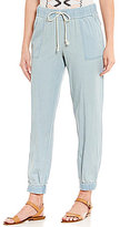 Takara Chambray Patch-Pocket Drawstring-Waist Jogger Pants