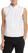 Milly Sleeveless Button-Front Stretch-Poplin Shirt, White