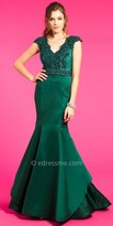 Camille La Vie Satin Lace Mermaid Evening Dress
