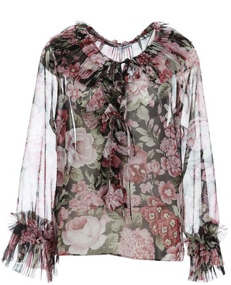 P.A.R.O.S.H. Floral Pleated Detail Blouse
