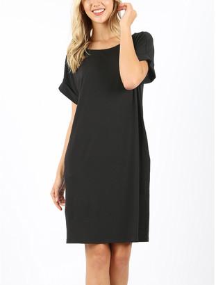 Zenana Women's Casual Dresses BLACK_IPB - Black Pocketed Roll-Sleeve Shift Dress - Women