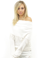 Minnie Rose Fringe Boho Cowl Neck Sweater in White