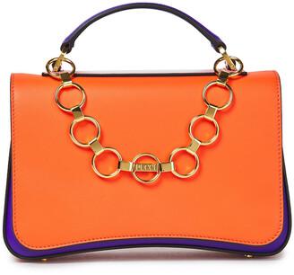 Emilio Pucci Chain-trimmed Color-block Leather Shoulder Bag