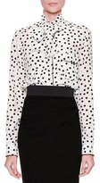 Dolce & Gabbana Tie-Neck Polka-Dot Blouse, White/Black