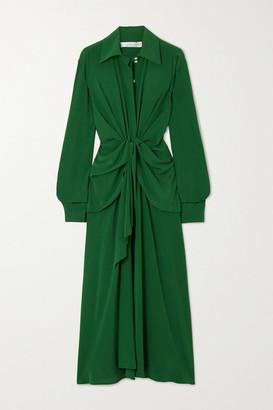 Victoria Beckham Knotted Silk Crepe De Chine Midi Dress - Emerald