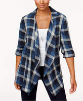 Style&Co. Style & Co Cotton Open-Front Plaid Completer, Created for Macy's