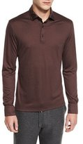 Ermenegildo Zegna High-Performance Wool Long-Sleeve Polo Shirt, Crimson