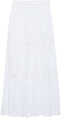 Miguelina Carina Embroidered Cotton Maxi Skirt