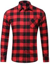 Vedem Men's Casual Button-Front Shirts Long Sleeve Plaid Flannel Shirt Tops (Red/Black, M)