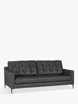 John Lewis & Partners Draper Large 3 Seater Sofa, Metal Leg, Winchester Anthracite Leather