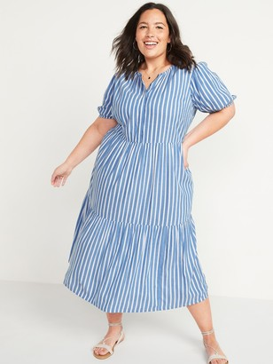 Old Navy Tiered Dobby-Stripe No-Peek Plus-Size Midi Dress