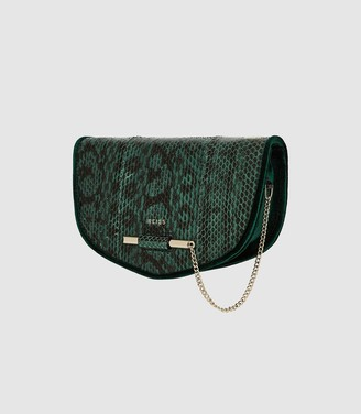 Reiss Langley Snake - Snake Skin Cross Body Bag in Dark Green