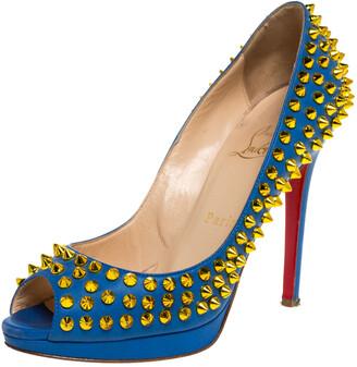 Christian Louboutin Blue Leather Yolanda Spikes Peep Toe Pumps Size 36.5