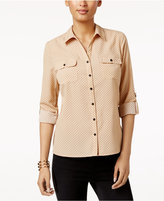 NY Collection Petite Top, Three-Quarter-Sleeve Polka-Dot Cotton Shirt