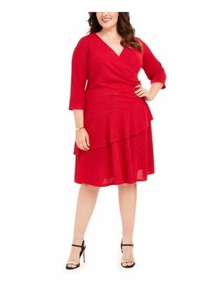 Robbie Bee Womens Red Glitter 3/4 Sleeve V Neck Knee Length Layered Evening Dress Plus UK Size:22