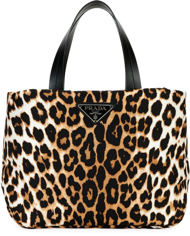 5e4d71f7 Leopard-Print Nylon Small Tote Bag