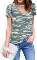 Initial Inital Women's Choker Vneck Short Sleeve Camo Tshirt Camouflage shirt Tops