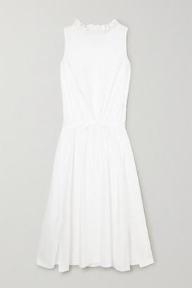 Atlantique Ascoli Ruffled Gathered Cotton-poplin Midi Dress - White