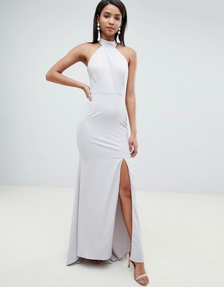 Jarlo high neck fishtail maxi dress with open back detail in gray