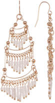 Ettika White Beaded Fringe Earrings