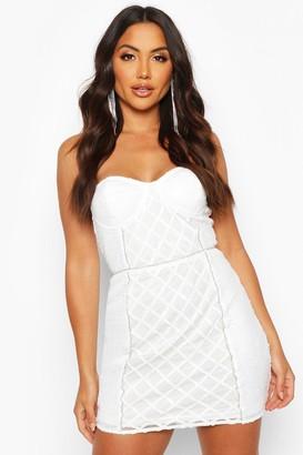 boohoo Sequin Diamonte Trim Check Cupped Mini Dress