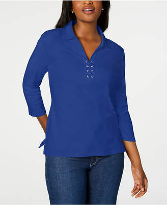 Karen Scott Cotton Lace-Up Shirt