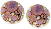 Betsey Johnson Gold-Tone Pink Faceted Bead Stud Earrings