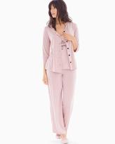 Soma Intimates 3-PIece Cardi Pajama Set Little Dot Vintage Pink