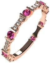 Nana Silver Stackable Ring Round Cut Rose Gold Flashed - Size 8 - Simulated Pink Tourmaline - Oct. Birthstone
