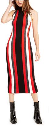 Bar III Metallic-Stripe Sweater Dress