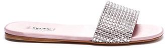 Miu Miu Crystal strap flat slides