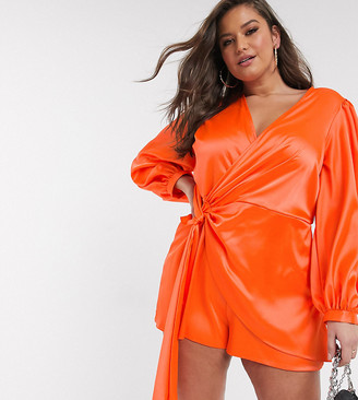 Asos DESIGN Curve knot front satin playsuit