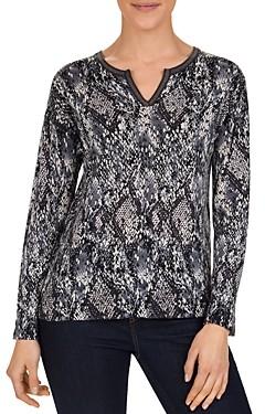 Gerard Darel Sloan Snakeskin-Print Merino-Wool Sweater