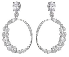 A&M A & M Silver-Tone Cluster Round Hoop Earrings