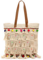 Straw Studios Women's Color Pom Canvas Tote