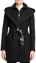 Mackage Siri Leather Belt Hooded Wrap Coat
