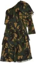 Sonia Rykiel Swallow camouflage-print one-shoulder dress