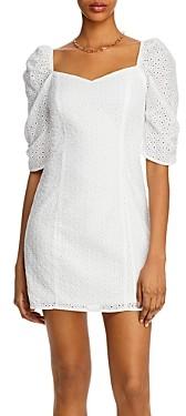 Aqua Puff-Sleeve Eyelet Mini Dress - 100% Exclusive