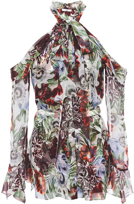Erdem Cold-shoulder Pussy-bow Floral-print Silk-voile Blouse